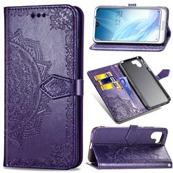 Embossing Imprint Mandala Flower Leather Wallet Case for Sharp AQUOS R2 SH-03K SHV42 - Purple