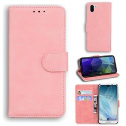 Retro Classic Skin Feel Leather Wallet Phone Case for Sharp AQUOS R2 SH-03K SHV42 - Pink