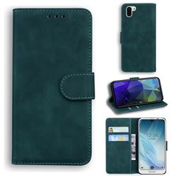 Retro Classic Skin Feel Leather Wallet Phone Case for Sharp AQUOS R2 SH-03K SHV42 - Green