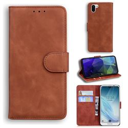 Retro Classic Skin Feel Leather Wallet Phone Case for Sharp AQUOS R2 SH-03K SHV42 - Brown