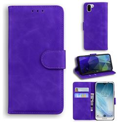 Retro Classic Skin Feel Leather Wallet Phone Case for Sharp AQUOS R2 SH-03K SHV42 - Purple
