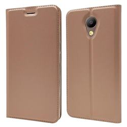 Ultra Slim Card Magnetic Automatic Suction Leather Wallet Case for Elephone P8 - Rose Gold