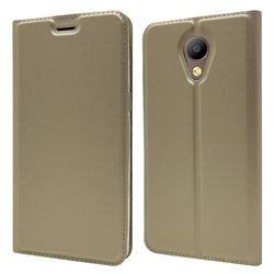 Ultra Slim Card Magnetic Automatic Suction Leather Wallet Case for Elephone P8 - Champagne
