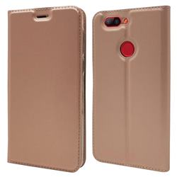 Ultra Slim Card Magnetic Automatic Suction Leather Wallet Case for Elephone P8 Mini - Rose Gold