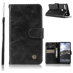 Luxury Retro Leather Wallet Case for Essential PH-1 - Black