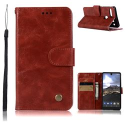 Luxury Retro Leather Wallet Case for Essential PH-1 - Wine Red