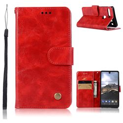 Luxury Retro Leather Wallet Case for Essential PH-1 - Red