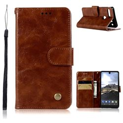 Luxury Retro Leather Wallet Case for Essential PH-1 - Brown