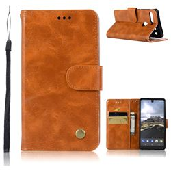 Luxury Retro Leather Wallet Case for Essential PH-1 - Golden