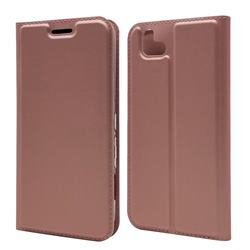 Ultra Slim Card Magnetic Automatic Suction Leather Wallet Case for FUJITSU Arrows U SoftBank - Rose Gold