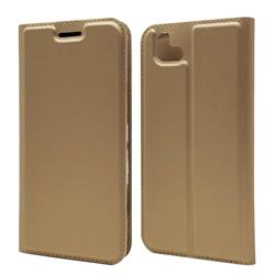 Ultra Slim Card Magnetic Automatic Suction Leather Wallet Case for FUJITSU Arrows U SoftBank - Champagne