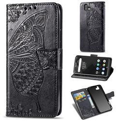 Embossing Mandala Flower Butterfly Leather Wallet Case for FUJITSU Arrows U SoftBank - Black
