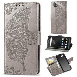 Embossing Mandala Flower Butterfly Leather Wallet Case for FUJITSU Arrows U SoftBank - Gray