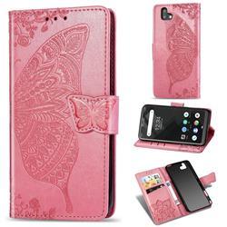 Embossing Mandala Flower Butterfly Leather Wallet Case for FUJITSU Arrows U SoftBank - Pink
