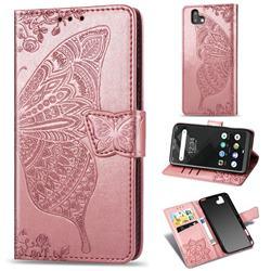 Embossing Mandala Flower Butterfly Leather Wallet Case for FUJITSU Arrows U SoftBank - Rose Gold