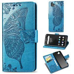 Embossing Mandala Flower Butterfly Leather Wallet Case for FUJITSU Arrows U SoftBank - Blue