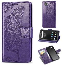 Embossing Mandala Flower Butterfly Leather Wallet Case for FUJITSU Arrows U SoftBank - Dark Purple