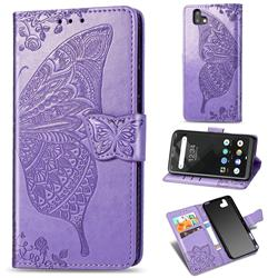 Embossing Mandala Flower Butterfly Leather Wallet Case for FUJITSU Arrows U SoftBank - Light Purple