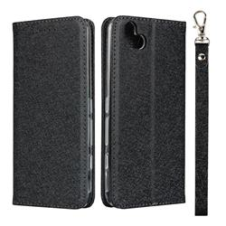 Ultra Slim Magnetic Automatic Suction Silk Lanyard Leather Flip Cover for FUJITSU Arrows U SoftBank - Black