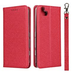 Ultra Slim Magnetic Automatic Suction Silk Lanyard Leather Flip Cover for FUJITSU Arrows U SoftBank - Red