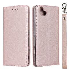 Ultra Slim Magnetic Automatic Suction Silk Lanyard Leather Flip Cover for FUJITSU Arrows U SoftBank - Rose Gold