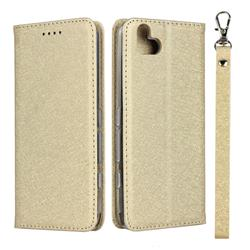 Ultra Slim Magnetic Automatic Suction Silk Lanyard Leather Flip Cover for FUJITSU Arrows U SoftBank - Golden