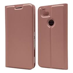 Ultra Slim Card Magnetic Automatic Suction Leather Wallet Case for FUJITSU Arrows RX - Rose Gold