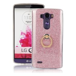 Luxury Soft TPU Glitter Back Ring Cover with 360 Rotate Finger Holder Buckle for LG G3 D850 D855 LS990 - Pink