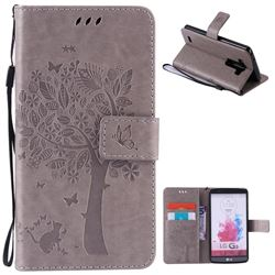 Embossing Butterfly Tree Leather Wallet Case for LG G3 - Grey