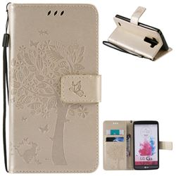 Embossing Butterfly Tree Leather Wallet Case for LG G3 - Champagne