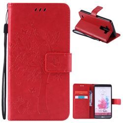Embossing Butterfly Tree Leather Wallet Case for LG G3 - Red
