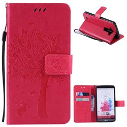 Embossing Butterfly Tree Leather Wallet Case for LG G3 - Rose