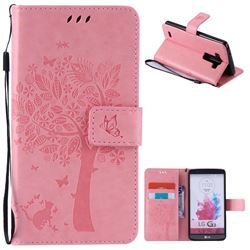 Embossing Butterfly Tree Leather Wallet Case for LG G3 - Pink