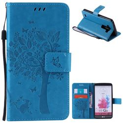 Embossing Butterfly Tree Leather Wallet Case for LG G3 - Blue
