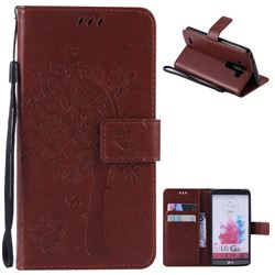 Embossing Butterfly Tree Leather Wallet Case for LG G3 - Brown