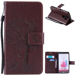 Embossing Butterfly Tree Leather Wallet Case for LG G3 - Coffee