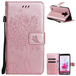 Embossing Butterfly Tree Leather Wallet Case for LG G3 D850 D855 LS990 - Rose Pink