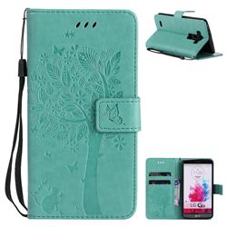 Embossing Butterfly Tree Leather Wallet Case for LG G3 D850 D855 LS990 - Cyan