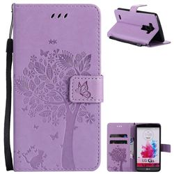 Embossing Butterfly Tree Leather Wallet Case for LG G3 D850 D855 LS990 - Violet