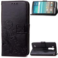 Embossing Imprint Four-Leaf Clover Leather Wallet Case for LG G3 - Black