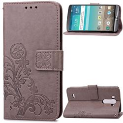 Embossing Imprint Four-Leaf Clover Leather Wallet Case for LG G3 - Gray