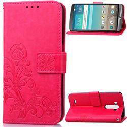 Embossing Imprint Four-Leaf Clover Leather Wallet Case for LG G3 - Rose