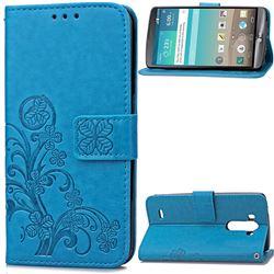 Embossing Imprint Four-Leaf Clover Leather Wallet Case for LG G3 - Blue