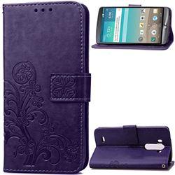 Embossing Imprint Four-Leaf Clover Leather Wallet Case for LG G3 - Purple