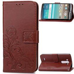 Embossing Imprint Four-Leaf Clover Leather Wallet Case for LG G3 - Brown