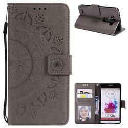 Intricate Embossing Datura Leather Wallet Case for LG G3 D850 D855 LS990 - Gray
