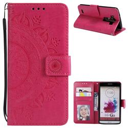 Intricate Embossing Datura Leather Wallet Case for LG G3 D850 D855 LS990 - Rose Red