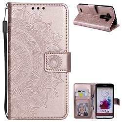 Intricate Embossing Datura Leather Wallet Case for LG G3 D850 D855 LS990 - Rose Gold