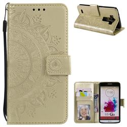 Intricate Embossing Datura Leather Wallet Case for LG G3 D850 D855 LS990 - Golden