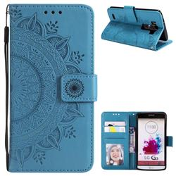 Intricate Embossing Datura Leather Wallet Case for LG G3 D850 D855 LS990 - Blue